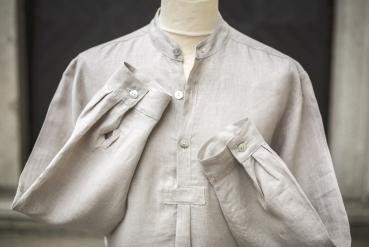 Bioella Ella Ferguson Leinenhemd, bio, Stehkragen, weiß